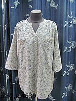 Блуза, рубашечного кроя, из летнего хлопка, рукав можно делать короче, без воротника р.50 код 4638М