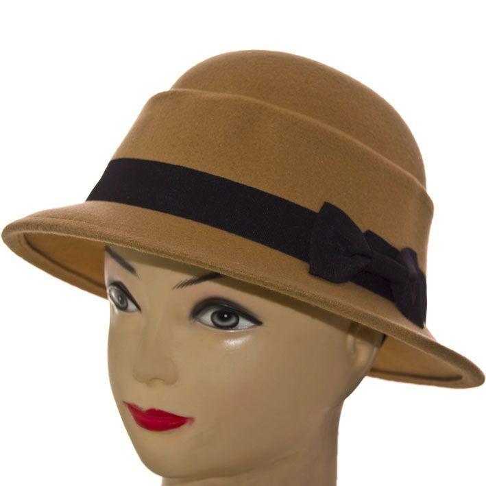 Шляпа фетровая F16003 бежевый1