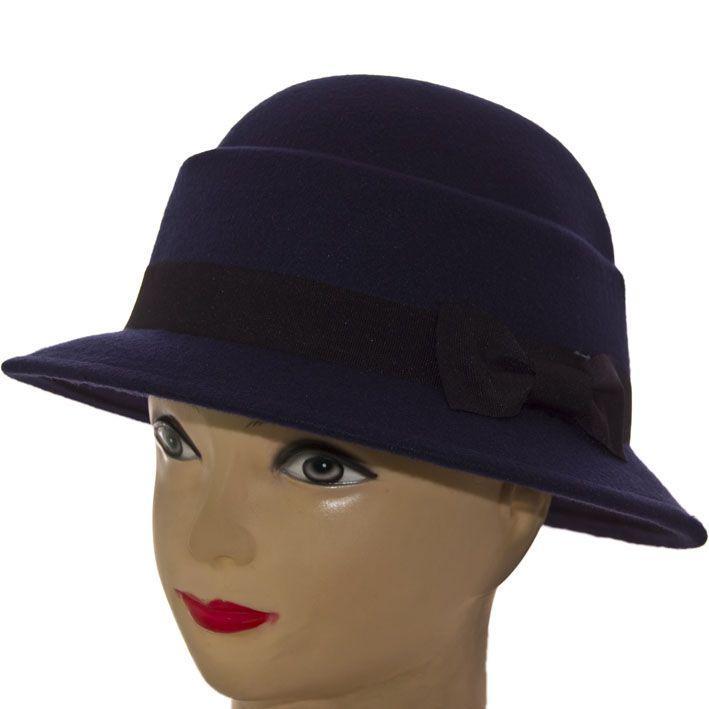 Шляпа фетровая F16003 тёмно-синий