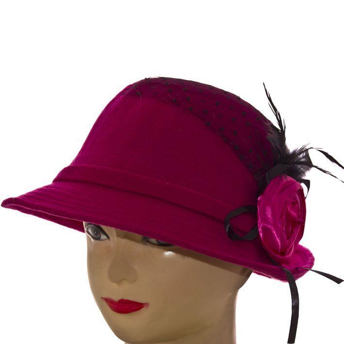 Шляпа фетровая F16008 малиновый