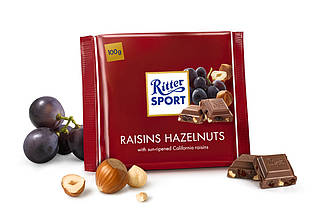 Шоколад  Ritter Sport Trauben Nuss молочный изюм+орех 100 г