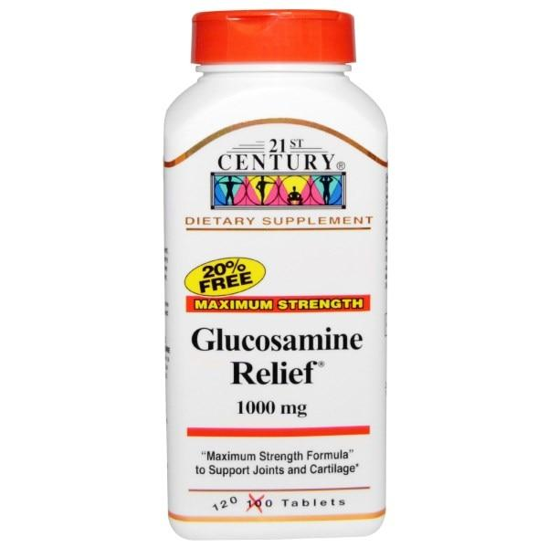 21st Century, Глюкозамин Relief, максимальная сила, 1000 мг, 120 таблеток в оболочке
