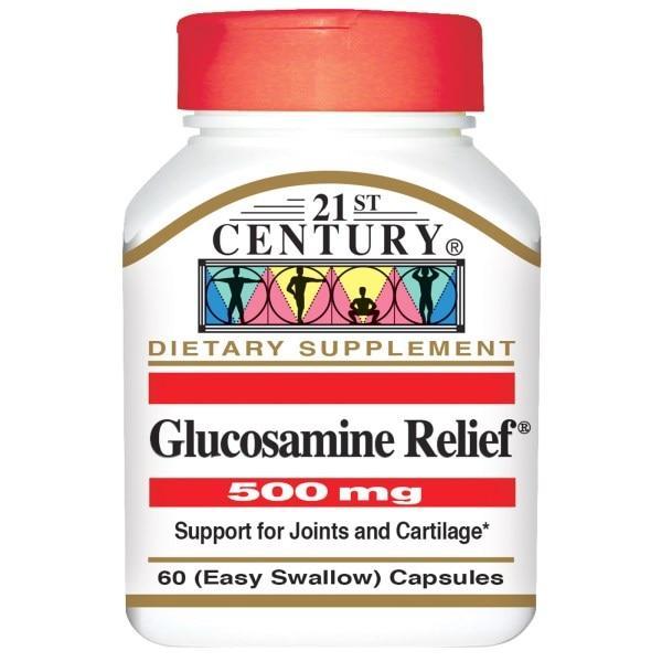21st Century, Глюкозаминовая помощь, 500 мг, 60 легкоглотающихся капсул