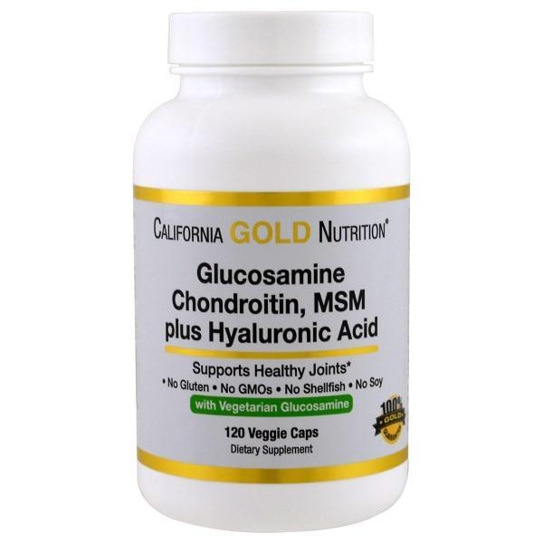 Глюкозамин, хондроитин, МСМ + гиалуроновая кислота, California Gold Nutrition,120 капсул
