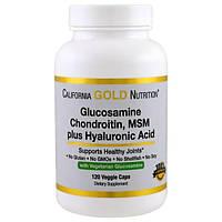 California Gold Nutrition, Вегетарианский глюкозамин, хондроитин, МСМ + гиалуроновая кислота, 120 вегетарианских капсул