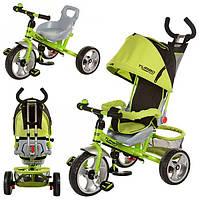 Велосипед трехколесный детский M 5387-1 усиленная двойная ручка Зелено-черный EVA Foam