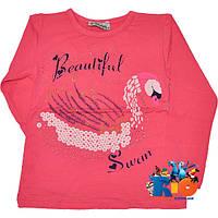 """Батник с ярким принтом  """"Swan"""" , трикотаж , для девочки от 5-8 лет (4 ед. в уп.)"""