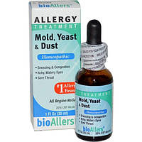 NatraBio, bioAllers, лечение аллергии, плесень, дрожжи и пыль, 1 жидкая унция (30 мл)
