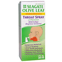 Seagate, Спрей для горла с листом оливы, без вкуса, 1 жидкая унция (30 мл)