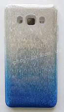 Чехол-накладка для Samsung J500H Galaxy J5 (блестки: синий + серебро), фото 3