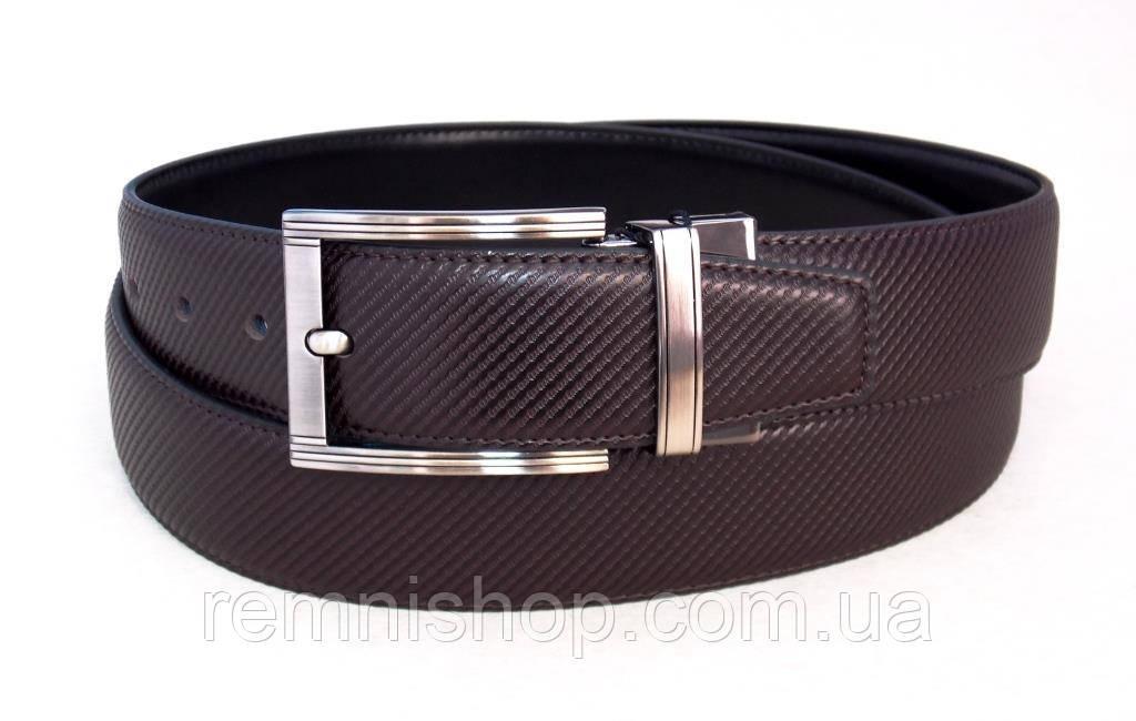 Кожаный ремень на две стороны Alon черный / коричневый