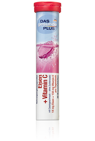 Витамины-шипучки Das Gesunde Plus Eisen+VitaminC, Железо+ВитаминС 20таб 82г