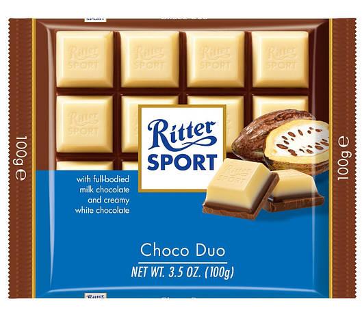 Шоколад Ritter Sport Schoko Duo молочный+белый 100 г, фото 2