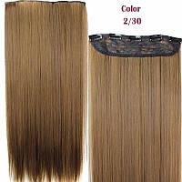 Волосы на заколках термостойкие светло коричневые тресс на ленте