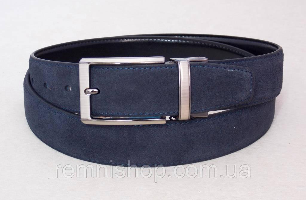 Замшевый двухсторонний ремень Alon  синий / черный