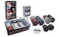 Покерный набор в металлической коробке-80 фишек IG-4590 (с номиналом,1 кол.карт)