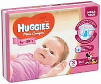 Подгузники Huggies Ultra Comfort 3 (5-9 кг) для девочек Mega Pack 80 шт., фото 1