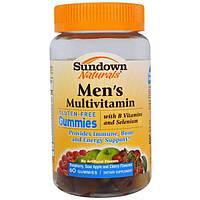Sundown Naturals, Мужские мультивитамины, вкус малины, кислого яблока и вишни, 60 желатиновых конфет