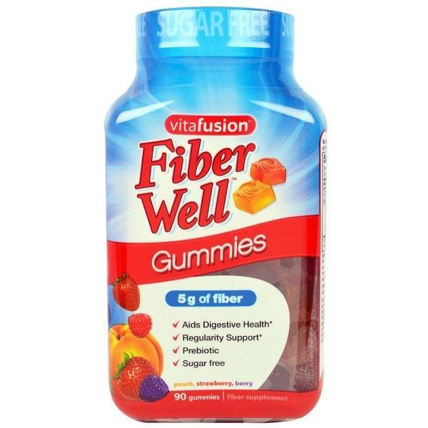 VitaFusion, Fiber Well, персик, клубника, ягоды, 90 жевательных таблеток