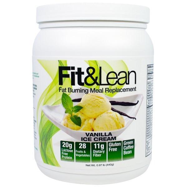 Maximum Human Performance, LLC, Fit & Lean, Сжигающий Жир Заменитель Еды, Ванильное Мороженое, 0,97 фунта (440 г)