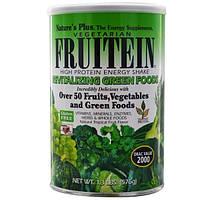 Natures Plus, Фрутеин, энергетический коктейль с высоким содержанием белка, восстанавливающая зелень, 576 г
