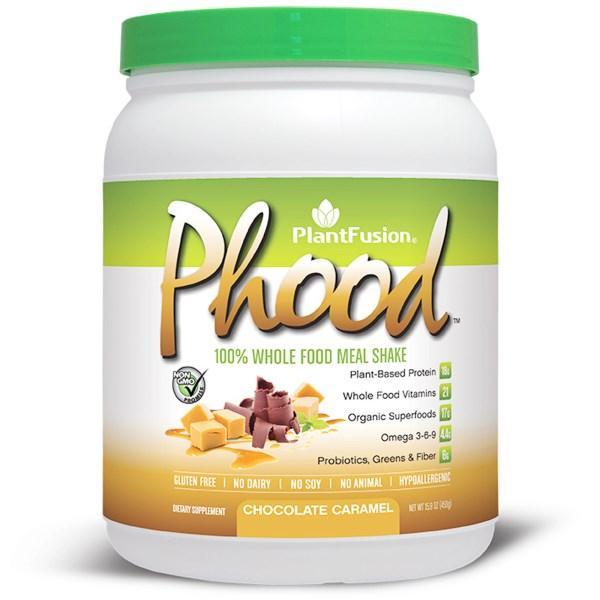 PlantFusion, Phood, Питательный коктейль из цельных растительных продуктов, Вкус шоколада и карамели, 15.9 унций (450 г)