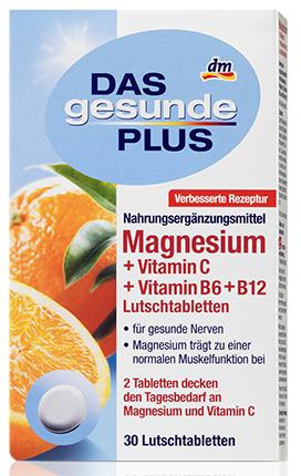 Витамины Das Gesunde Plus  Магний + Витамин С + Витамин B6 + B12 30 штук, фото 2