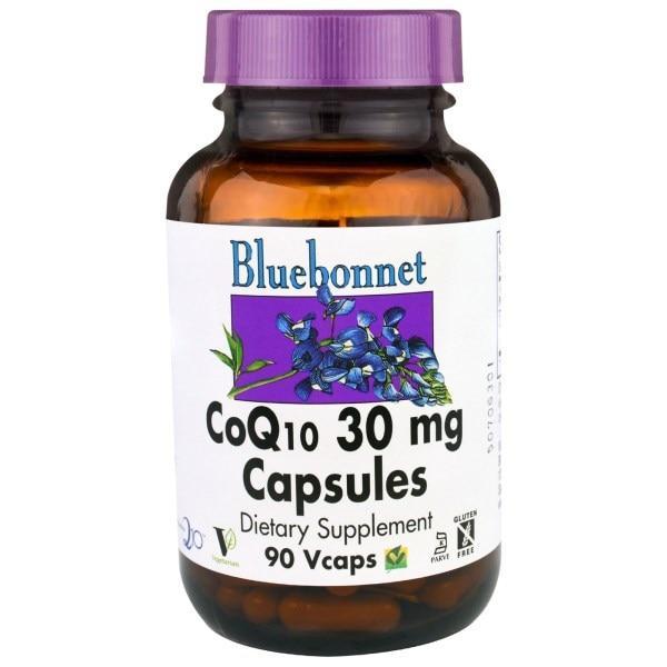 Bluebonnet Nutrition, Капсулы коэнзима Q10, 30 мг, 90 вегетарианских капсул