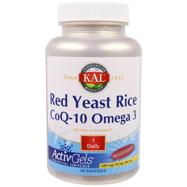 KAL, Красный ферментированный рис, CoQ-10, омега 3, 60 мягких капсул