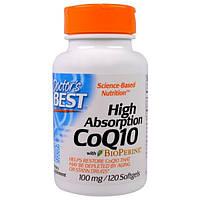 Doctors Best, Коэнзим Q10 с высокой усваиваемостью, с биоперином, 100 мг, 120 капсул в мягкой оболочке