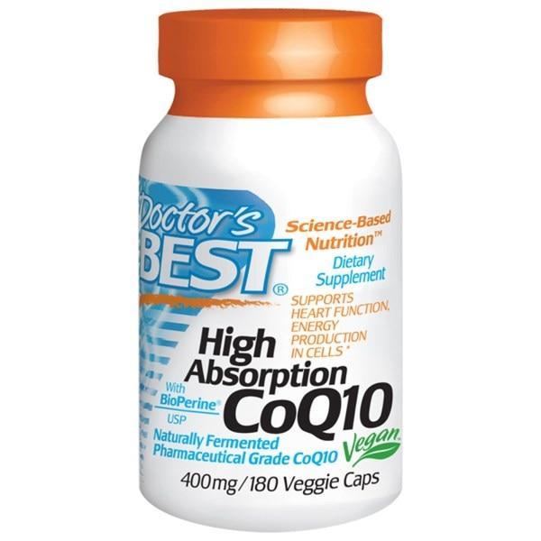 Doctors Best, Коэнзим Q10 с высокой степенью поглощения и биоперин, 400 мг, 180 растительных капсул