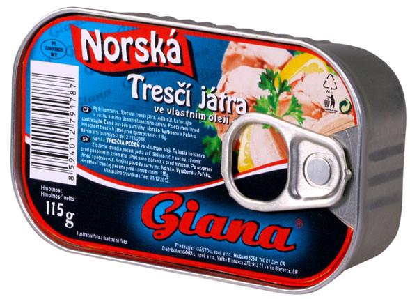 Консервированная печень трески Giana 115 г