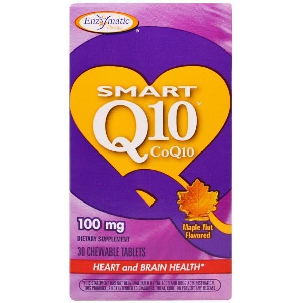 Enzymatic Therapy, Smart Q10 CoQ10, со вкусом орехов и кленового сиропа, 100 мг, 30 жевательных таблеток