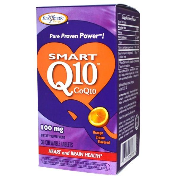 Enzymatic Therapy, Smart Q10, CoQ10, Orange Cream Flavored, 100 мг, 30 жевательных таблеток