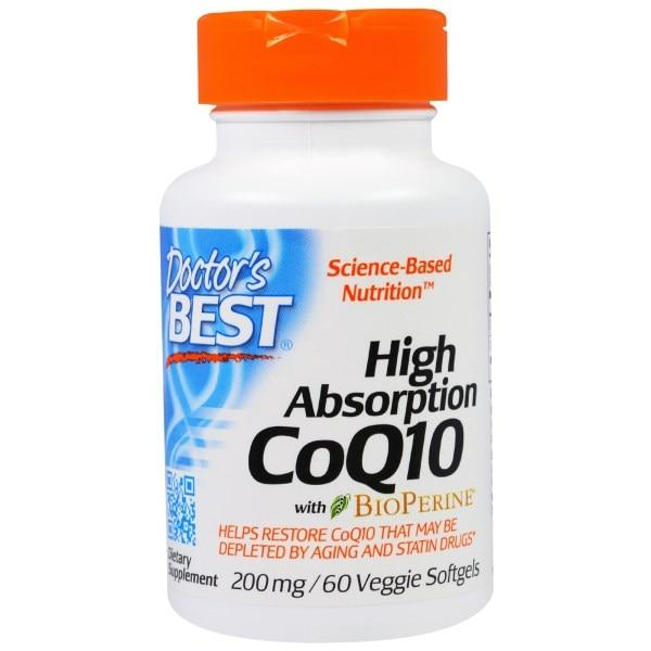 Doctors Best, Кофермент Q10 с высокой степенью усваивания и биоперином, 200 мг, 60 вегетарианских мягких желатиновых капсул