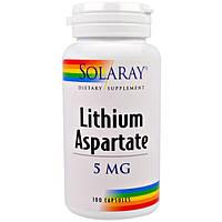 Solaray, Литий аспартат, 5 мг, 100 капсул
