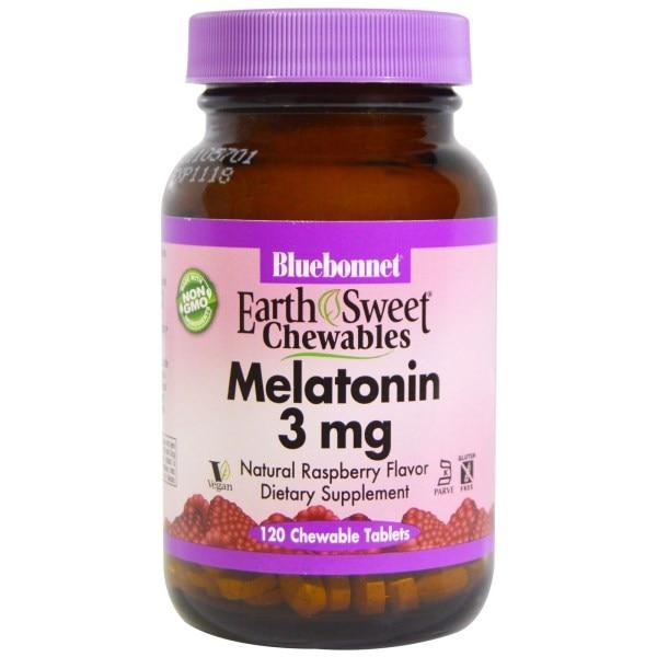 Bluebonnet Nutrition, Жевательные конфеты EarthSweet, мелатонин, натуральный малиновый вкус, 3 мг, 120 жевательных таблеток