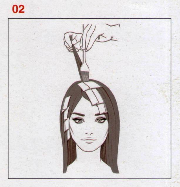 Наносим формулу на все оставшиеся волосы оставшиеся вне фольги, и это основная часть волос