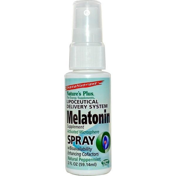 Natures Plus, InstaNutrient, Мелатонин в аэрозольной упаковке, Натуральная мята, 2 жидких унций (59.14 мл)