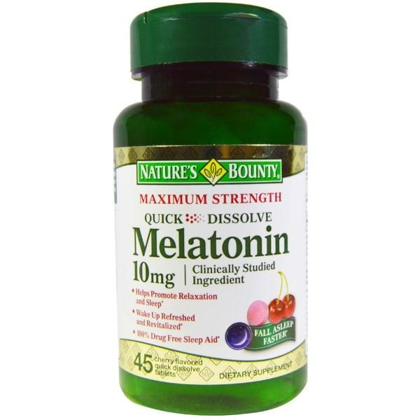 Natures Bounty, Мелатонин, быстрорастворимый, натуральный вишневый вкус, 10 мг, 45 быстрорастворимых таблеток
