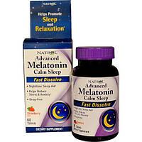 Natrol, Быстро Растворяющийся Мелатонин с Ароматом Клубники для Спокойного Сна, 60 Таблеток