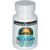 Source Naturals, Melatonin, Orange Flavored Lozenge, 1 mg, 100 Lozenges