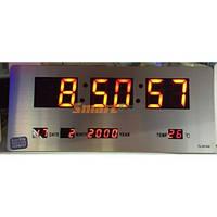 Часы настольные 3515А с красной подсветкой и корпусом металлик