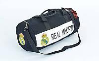 Сумка спортивная Боченок клубная REAL MADRID GA-5633-4 (полиэстер, р-р 53х25см, черный-белый)
