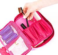 Дорожный органайзер для косметики с отстегивающимся кармашком, розовый