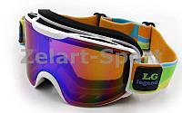 Очки горнолыжные LG0205 (акрил,пластик,PL,двойные линзы,антифог,цвет линз-хамелеон,оправа белая)