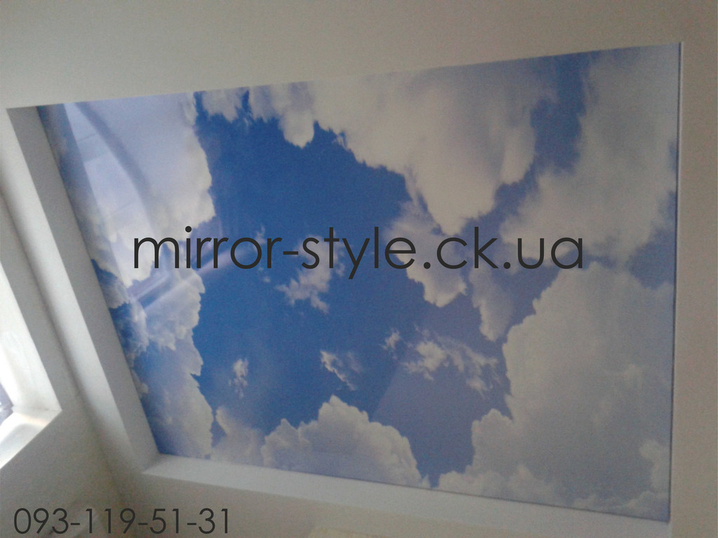 Французский натяжной потолок фотопечать облачное небо в детской г.Черкассы. - завершающий этап монтажа натяжного потолка.