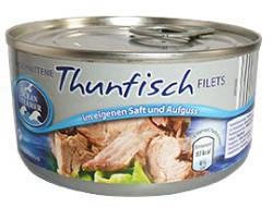 Консервированный тунец Thunfisch filets в собственном соку 150г