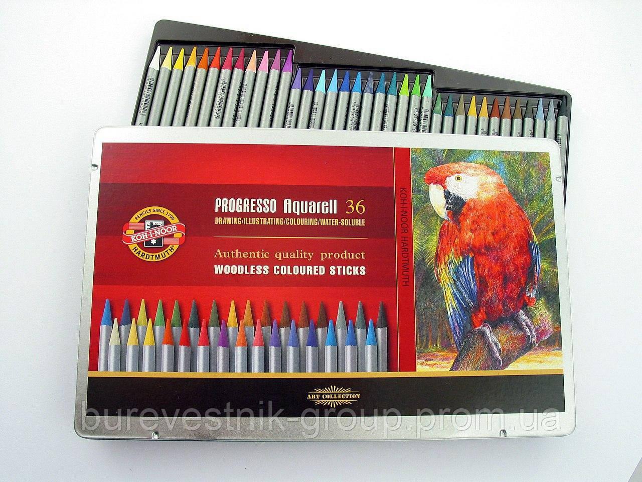 Художественные цветные бездревесные акварельные карандаши  KOH-I-NOOR Progresso 36цв.