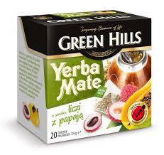 Чай Green Hills Yerba Mate o smaku liczi z papaja 20 пакетов, фото 2